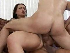 A sexy Russian babe sucks cock and gets double penetrated