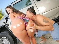 Incredible vanessa and her amaing huge ass gets licked and pounded hard in these hot out door car wash videos