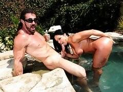 Must see big tits cherokee suck a cock on the rocks by the jacuzzi then get her bos filled by a hard cock in these vids
